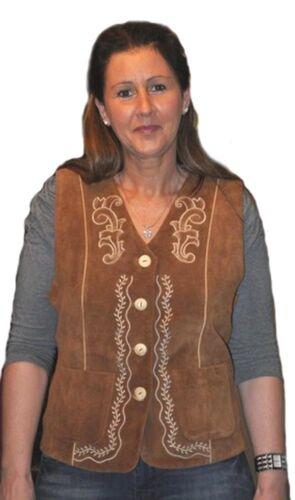 Damen Trachtenweste Janker aus echtem Leder mit Stickerei