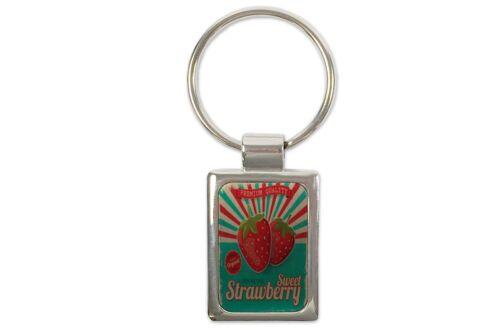 Schlüsselanhänger Retro süße Erdbeere bedruckt
