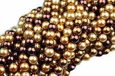50 Chocolate Kiss Pearl Mix Czech Glass Beads 6MM