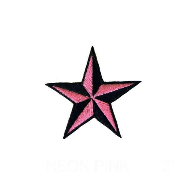 """Nautical Star Applique Patch Pink Black Tattoo Badge 2/"""" 3-Pack, Iron on"""