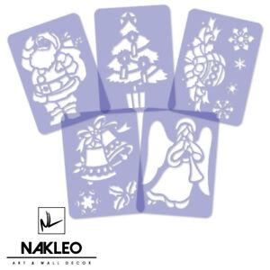 5x-plastica-riutilizzabile-Stencil-Per-Finestra-Di-Natale-Babbo-Natale-Natale-Fiocchi-di-neve-A4