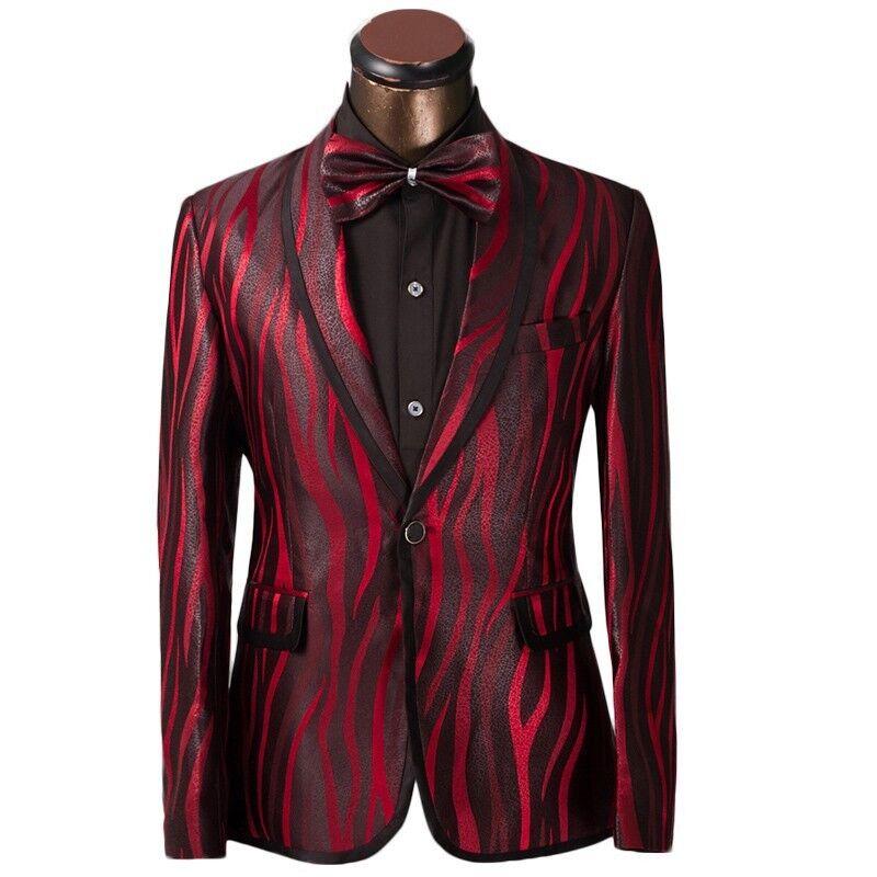 Luxury Men's Suit Red Zebra Pattern One Button Animal Print Elegant Stylish Fit