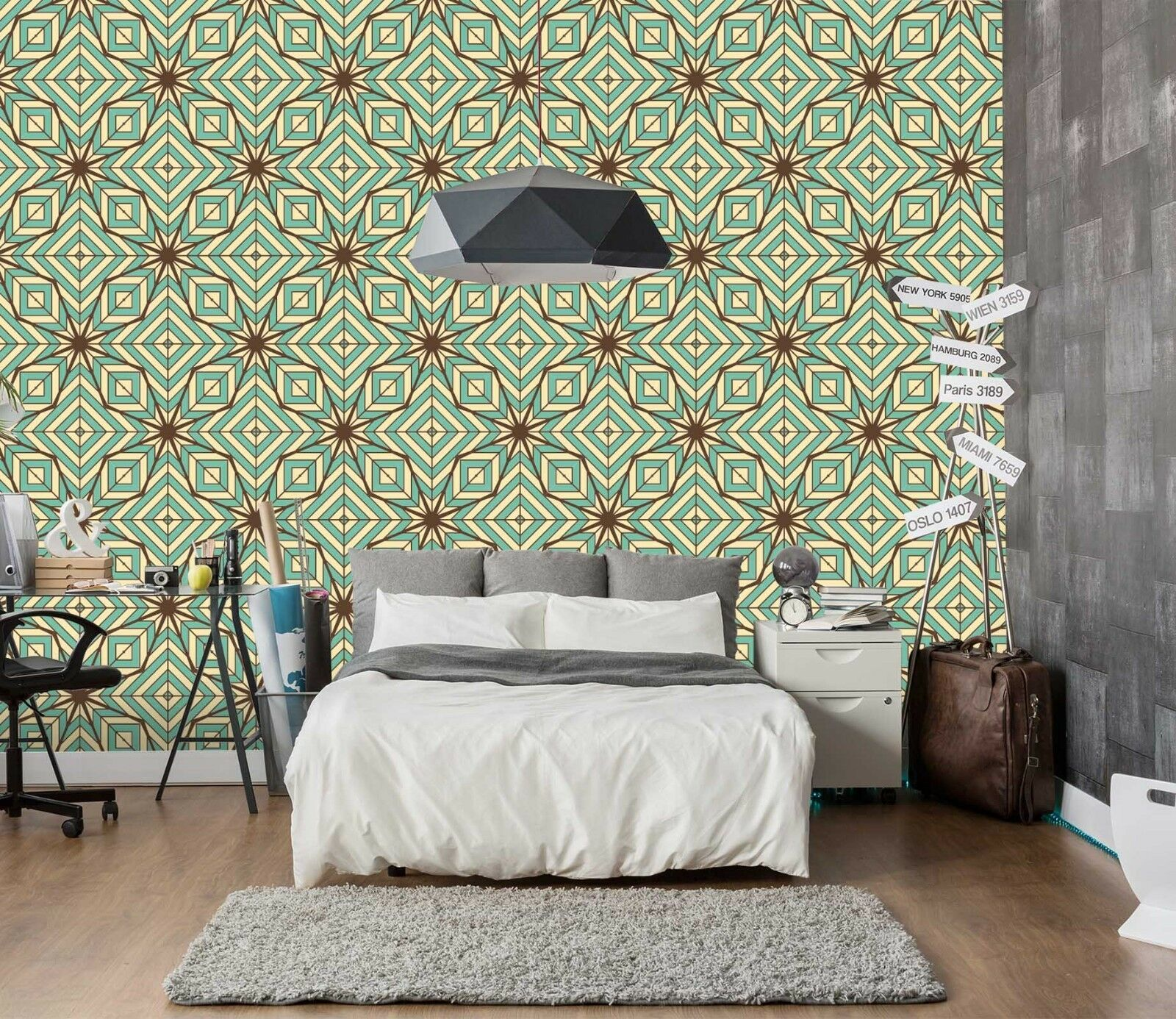 3D Abstract Geometry 220 Wallpaper Mural Wall Print Decal Indoor Murals AU Lemon