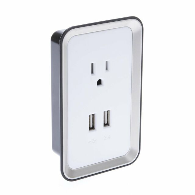 Sharper Image Wall Plate With Surge Protection And 2 Usb Ports Ebay