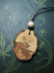 RARE-Apple-amp-Mistletoe-Wood-Pendant-On-a-cord-Pagan-Witchcraft-Wicca