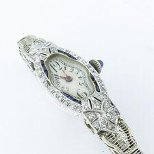 NYJEWEL Platinum Art Deco Filigree Fleurs-De-Lis Sapphire Diamond Watch Bracelet