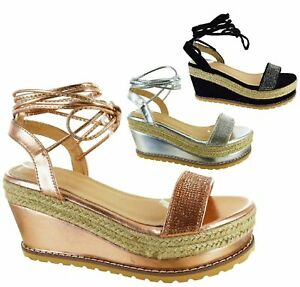 LADIES-WOMENS-DIAMANTE-FLAT-PLATFORM-WEDGE-LACE-TIE-UP-ESPADRILLES-WEDGE-SANDALS