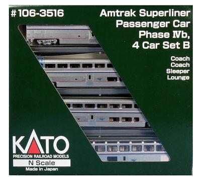 Kato N Scale 106-3516 Amtrak Superliner Four Passenger Car Set B Phase IVb New!