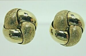 Vintage-14ct-Yellow-Gold-Textured-Knot-Stud-Earrings-Butterfly-Backs-1-8g-10-1mm