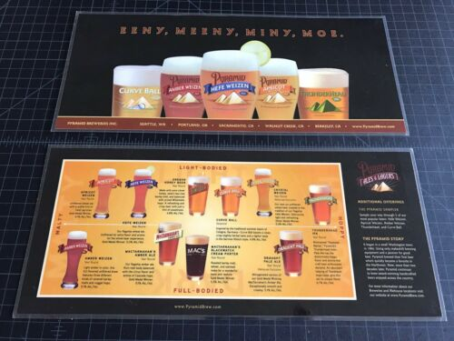 3 Pyramid Brewing Micro brew Bar Menus Apricot Ale Hefe Weizen Curve Ball Amber
