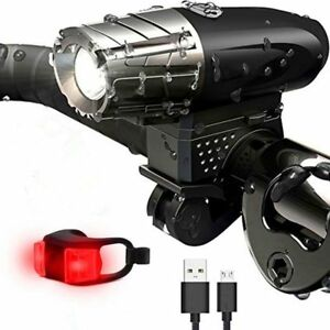 Waterproof-USB-Recharge-LED-Bicycle-Bike-Front-Light-Headlight-amp-Tail-Light-US