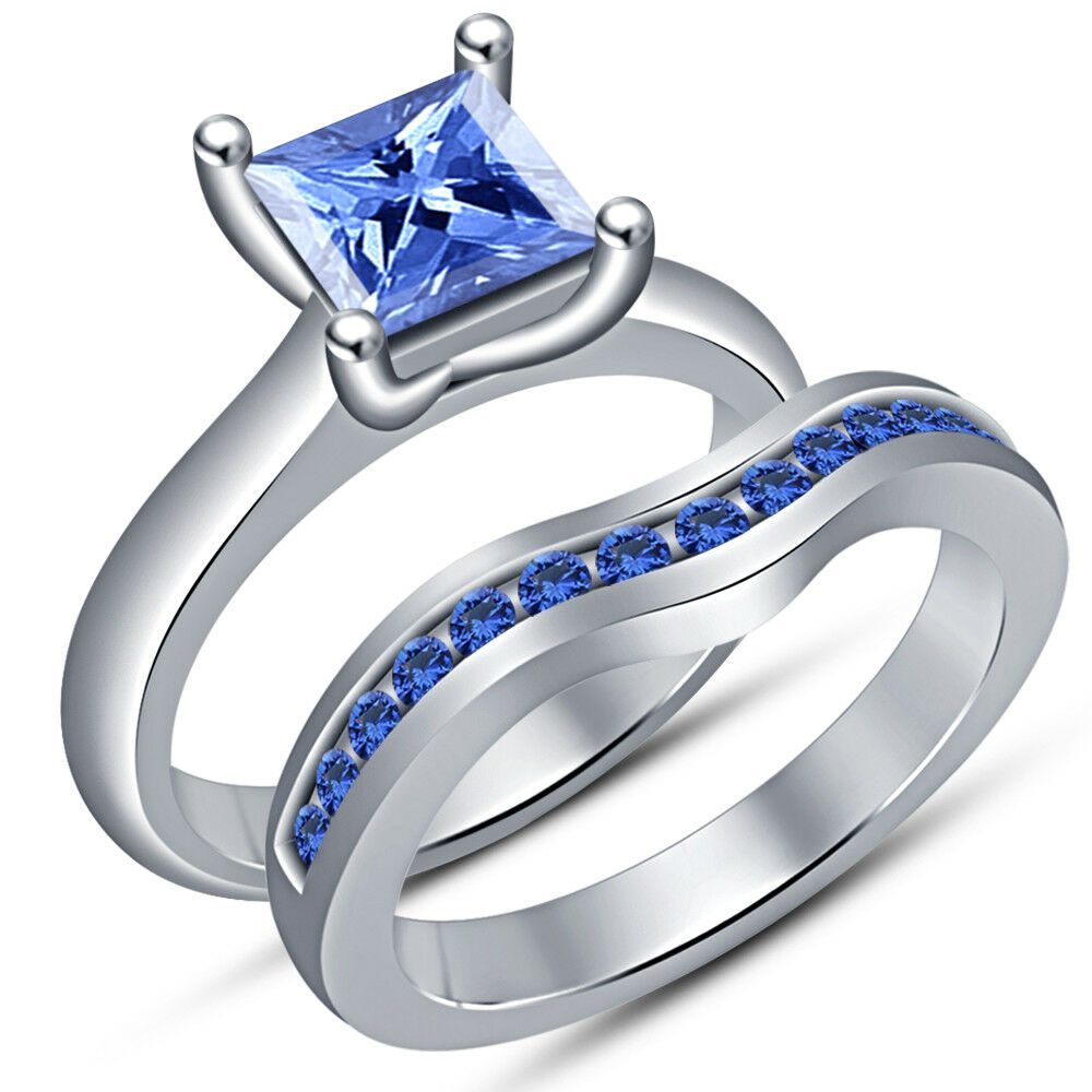 Princess bluee Sapphire Bridal Set Solitaire Engagement Ring 14K White gold Over