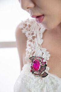 sparkly-ribbon-fuschia-pink-green-crystal-rhinestone-gold-brooch-pin-pendant-H04