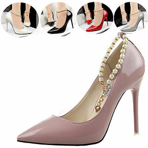 6b5225abe55b Image is loading Cute-Womens-Ladies-Glitter-Pearl-Stiletto-High-Heels-