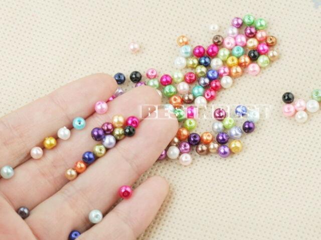 500X 4mm Rund Zwischenperlen Glas Kugel Perlen Beads Lose Schmuckteil Bunt Neu