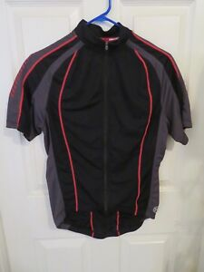 Men-s-Novara-Cycling-Jersey-Black-Red-amp-Gray-Full-Zip-Size-Medium-Great-Cond