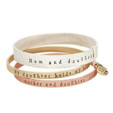Message Bracelet 2 TONE Bangles Inspire Engraved Mom Daughter Mother Heart SET 3