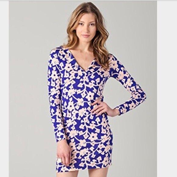 DVF Diane von Furstenberg Reina Tunic Long Sleeve Dress Blau Rosa sz 4