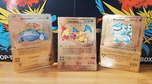 Pokemon Glurak, Turtok, BISAFLOR 1. Edition High Quality Gold Metal Card