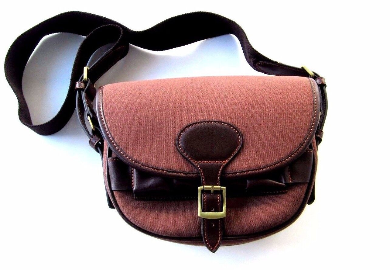 Canvas & Leather Cartridge Bag Speed Loader Cartridge Bag Light Burgundy Canvas