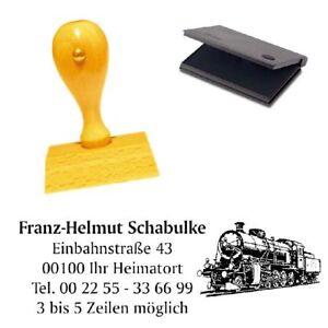Adressenstempe<wbr/>l « DAMPFLOKOMOTIV<wbr/>E » mit Kissen - Firmenstempel - Lokführer