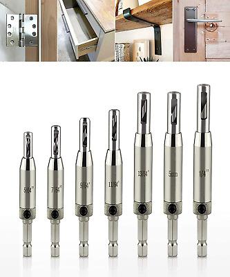 Self Centering Drill Bit Set 15pcs HSS Vix Cabinet Door Hinge Drill Bit 7pcs 1//4