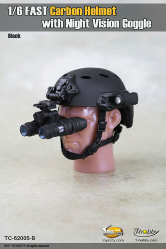 "1//6 Scale Fast Carbon Helmet with Night Vision Goggle Toyscity For 12/"" Figure #A"