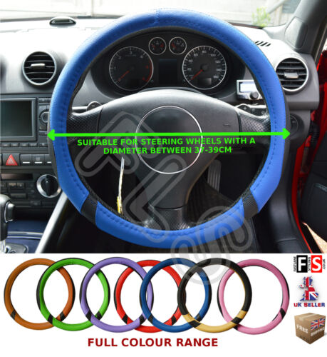 UNIVERSAL BLACK /& BLUE 37-39CM STEERING WHEEL COVER FAUX LEATHER-ALR