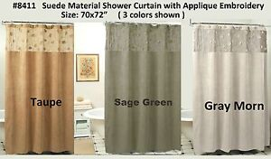 Image Is Loading Morning Leaf Suede Fabric Shower Curtain 3 Colors