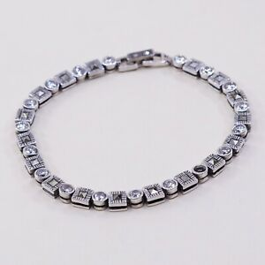 6-75-Vintage-Sterling-925-Silver-Handmade-Tennis-Bracelet-W-Marcasite-N-Cz