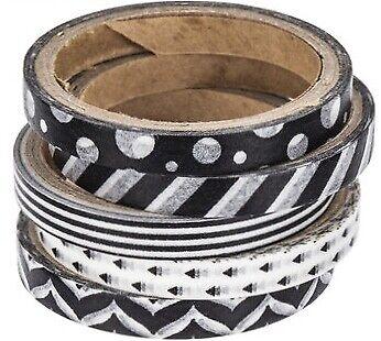 5 Rolls Black /& White Patterned SLIM Washi Decorative Tape Papercraft  Journal