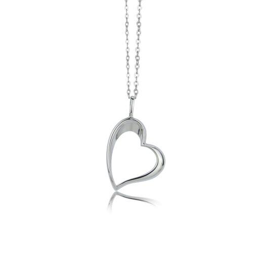 Echt 925 Silber Herz Anhänger mit Kette 45cm