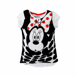 DISNEY-t-shirt-MINNIE-3-4-6-ou-8-ans-blanc-noir-manches-courtes-NEUF