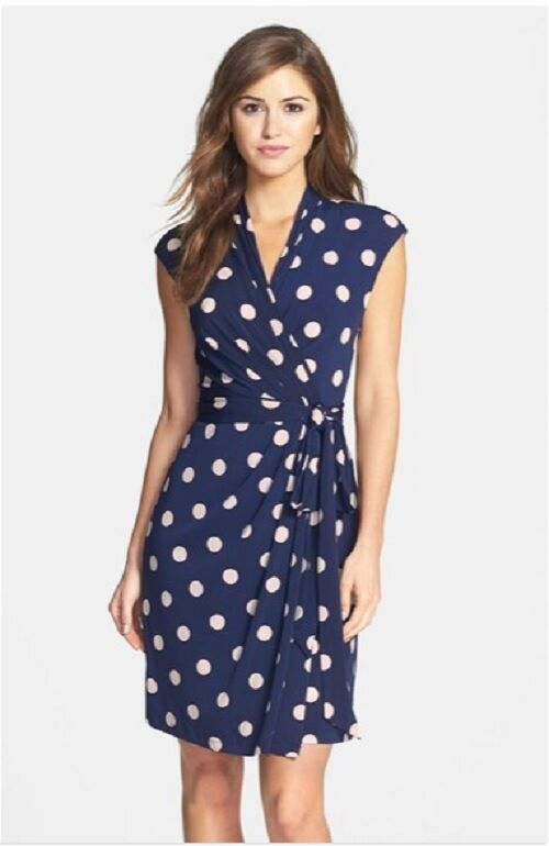 Eliza J Polka Dot Jersey Faux Wrap Dress (size 8P)