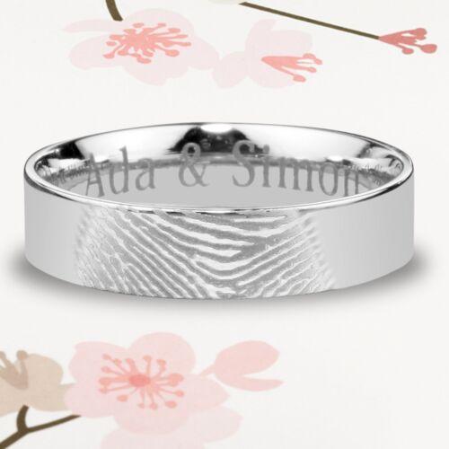 Fingerprint Customised Wedding Ring Silver Titanium Band Set Flat Shape