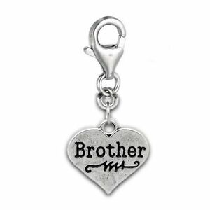 Clip-on-034-Brother-on-Heart-034-Charm-Pendant-for-European-Jewelry-w-Lobster-Clasp
