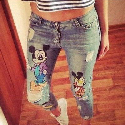 Women Clothing Sexy Skinny Jeggings Denim Mickey Print Casual Slim Jeans Pants