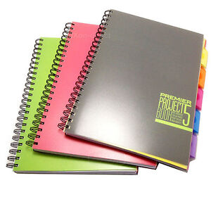 a4 book lined notebook with 5 colour dividers spiral writinproject g
