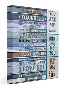 You are my sunshine Version 1-Blue Canvas Framed 0.75 Love Dad To my daughter