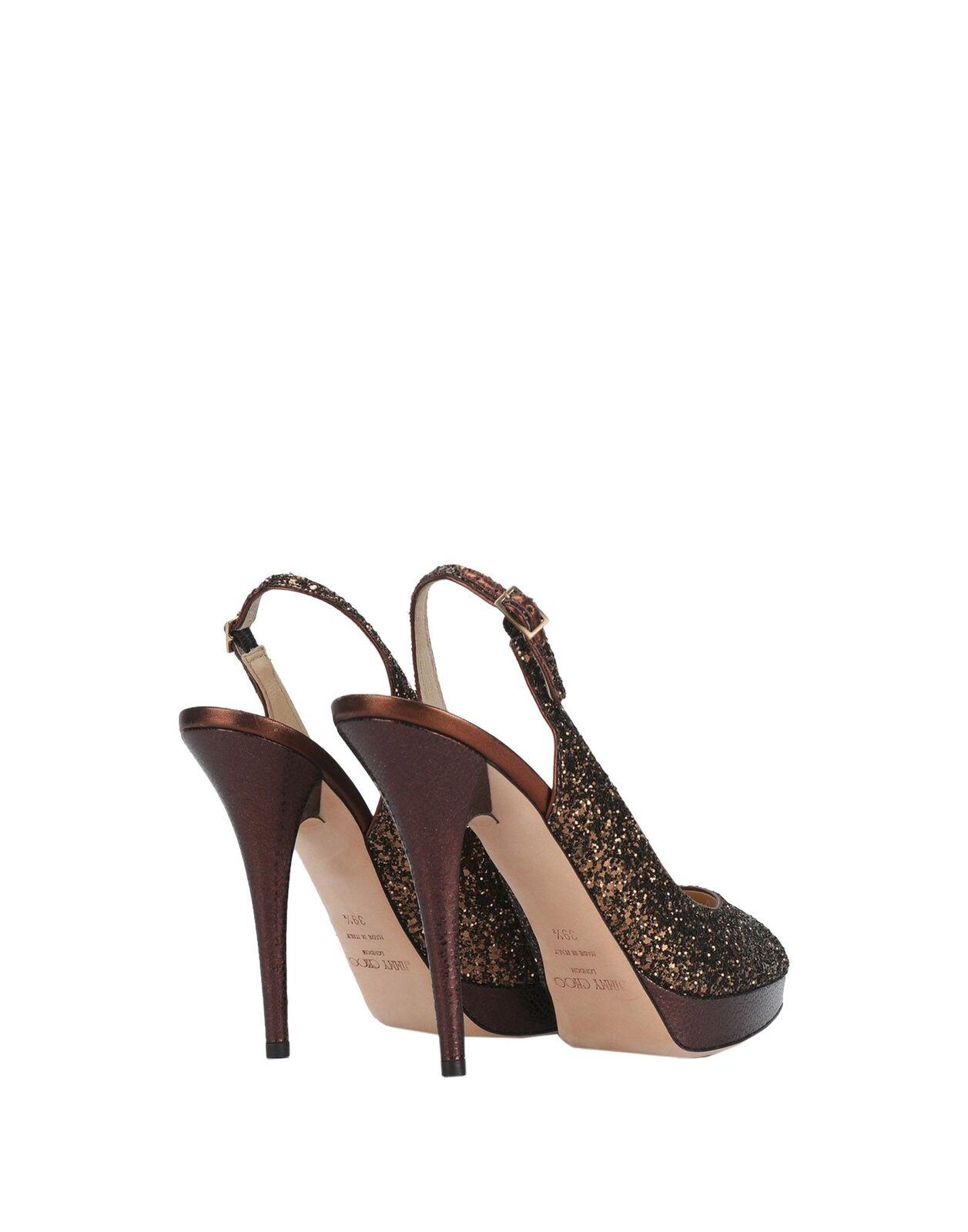 Jimmy Choo Choo Choo Coarse Glitter Bronze Peep-Toe Sandals   Heels Größe 9.5 US 6e2b1c