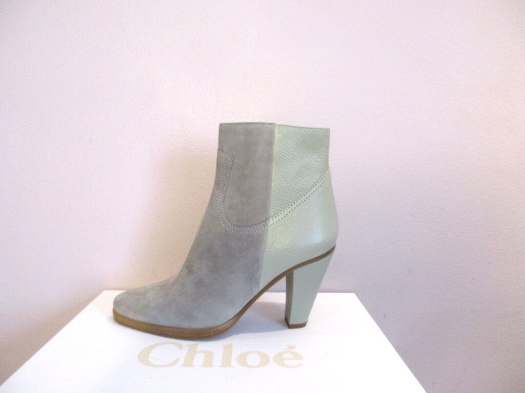 Chloe Dark Chalk Suede Leather Ankle Boots Booties 995 35 5