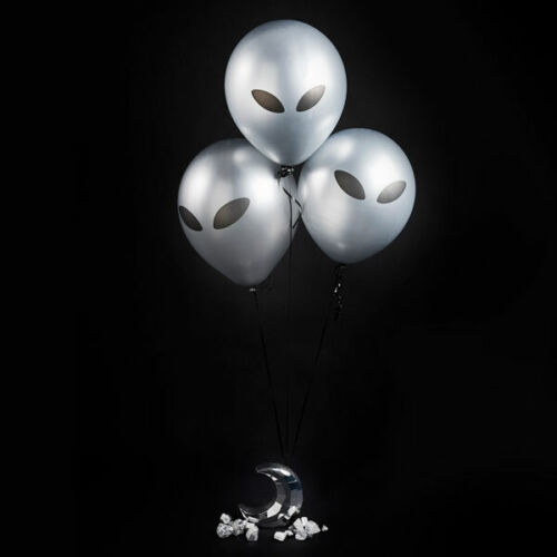 BLACK /& SILVER ALIEN BALLOONS 5 PACK 12 INCH SPACE PARTY DECORATION HALLOWEEN
