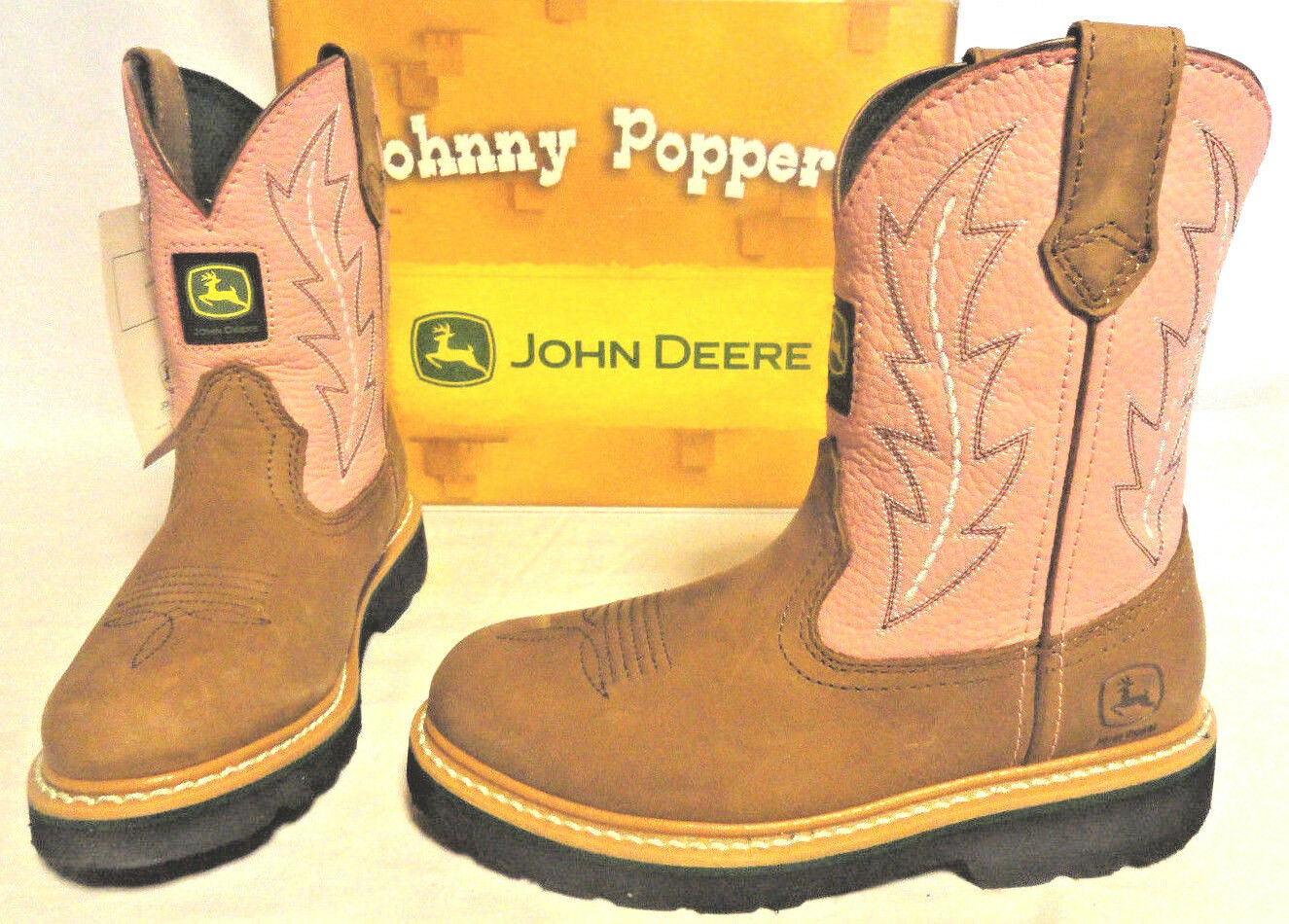 JOHN DEERE, YOUTH GIRLS PINK TAN LEATHER COWBOY BOOTS, SIZES 1.5 OR 2.5, NEW