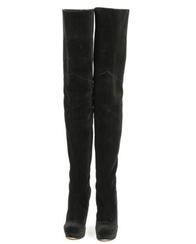 Black Leather Stiefel Perles Heels Boots Noir Mori Bottes Platform 38 Overknee wZRpnYf8