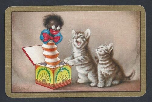 English Named Card #500.002 vintage swap card MINT cats with jack-in-the-box