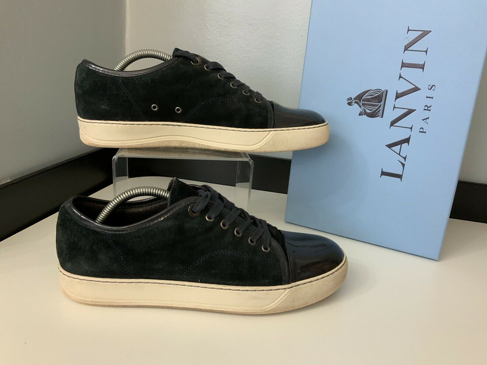 Lanvin Mens Sneakers, shoes, Eu41, Navy bluee Suede, VGC
