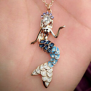 Multi-Colour-Diamond-Crystals-Mermaid-Pendant-18K-Rose-Gold-Plated