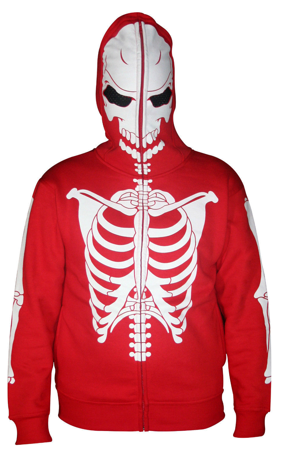 Mens Full Face Mask Skeleton Skull Hoodie Sweatshirt