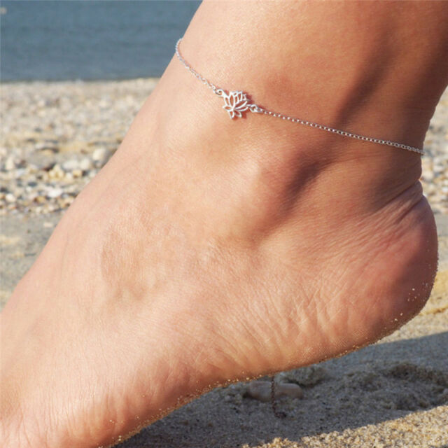 Simple Silver Chain Anklet Ankle Bracelet Barefoot Sandal Beach Foot Jewelry P0C