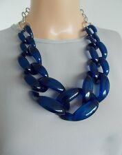 Chunky Blue Chain Statement Necklace -UK SELLER